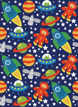 cartoon space pattern design. vector illustration Vector