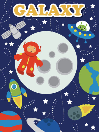 cartoon space card design. vector illustration Vector