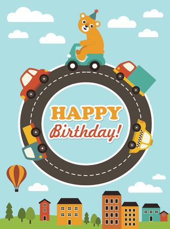 cute happy birthday card design. vector illustration Vector