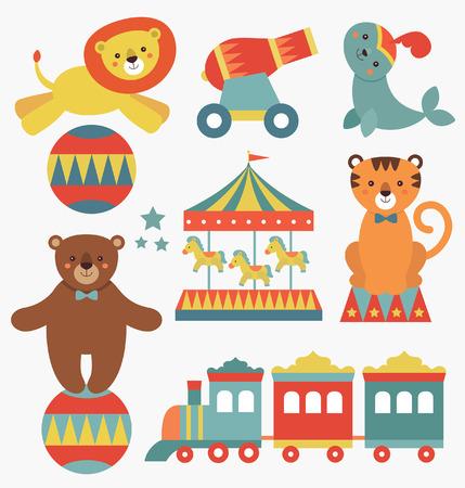 cute circus animals collection. vector illustration Illustration