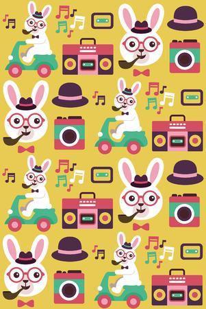 hipster animal pattern design. vector illustration Vector