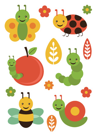 cute insect set. vector illustration Vector