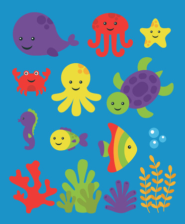 cute sea creatures set. vector illustration Vector