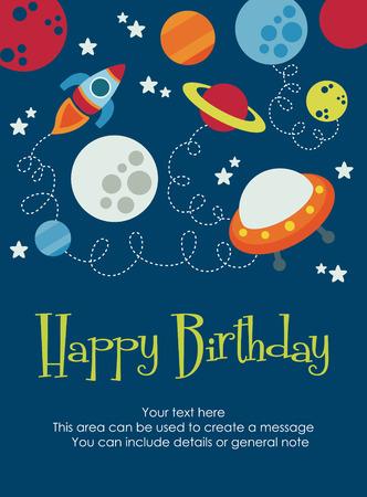 space happy birthday card design. vector illustration Vector