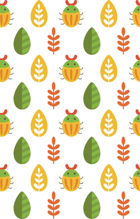 bettle: cute seamless floral pattern design. vector illustration