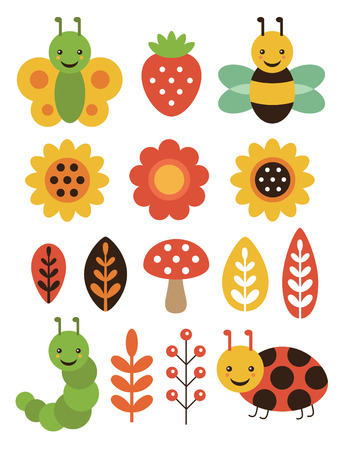 cute floral elements and insects set. vector illustration Vector