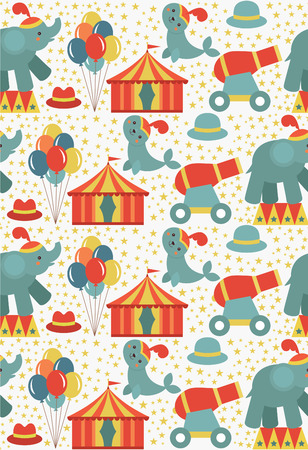 top gun: seamless circus pattern design. vector illustration