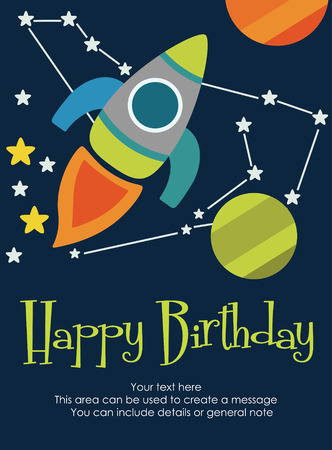 Space Happy Birthday Card Design Vector Illustration Royalty Free