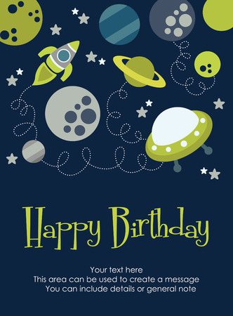 space happy birthday card design. vector illustration
