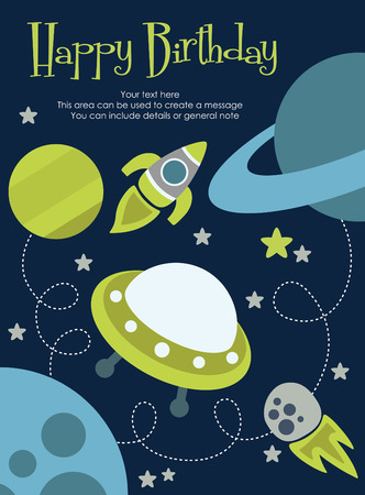 space happy birthday card design. vector illustration Vector