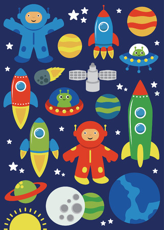 cute space objects set. vector illustration Vector