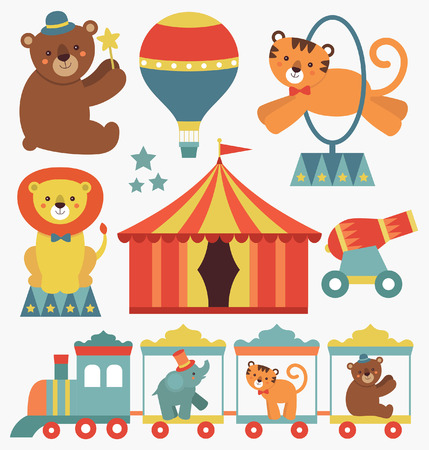 top gun: cute circus animals collection. vector illustration Illustration
