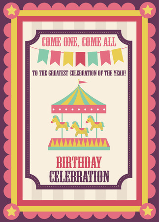 gee gee: cute circus card design. vector illustration Illustration