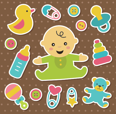 baby with bottle: newborn stickers collection. vector illustration