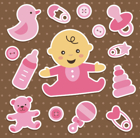 baby girl: baby girl stickers collection. vector illustration