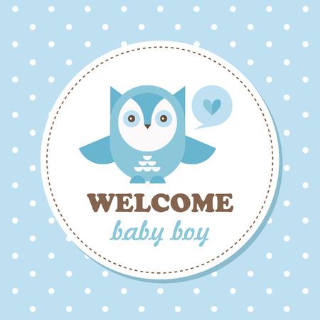 stylish boy: welcome baby card. vector illustration Illustration