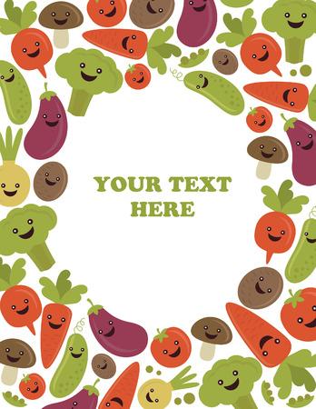fun vegetables frame design. vector illustration Vector
