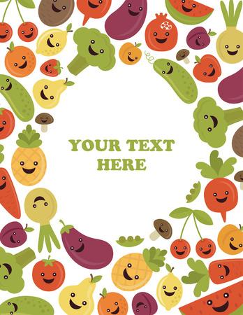 fun fruits and vegetables frame design. vector illustration Vector
