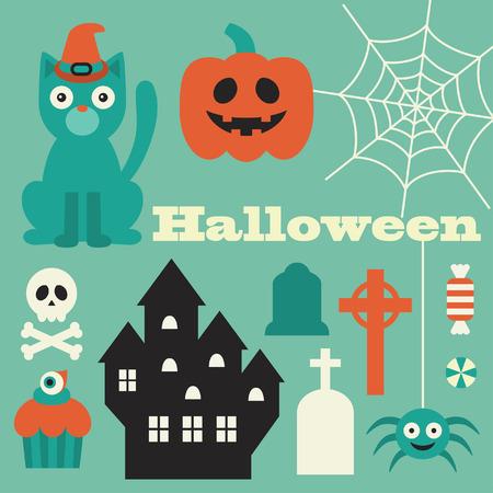 halloween objects set. vector illustration Vector