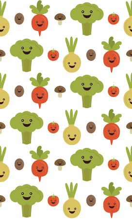 fun vegetables seamless pattern design. vector illustration Vector