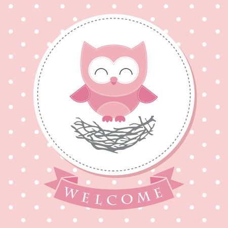 welcome party: dise�o de la tarjeta de bienvenida al beb�. ilustraci�n vectorial Vectores