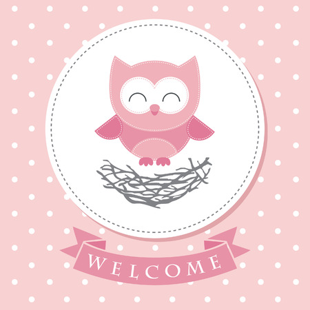 cute baby girls: welcome baby card design. vector illustration Illustration