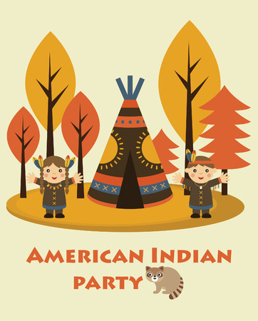 american indian party card design. vector illustration Vector