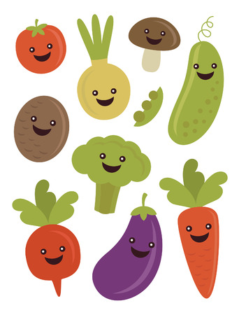 fun vegetables collection. vector illustration Vector