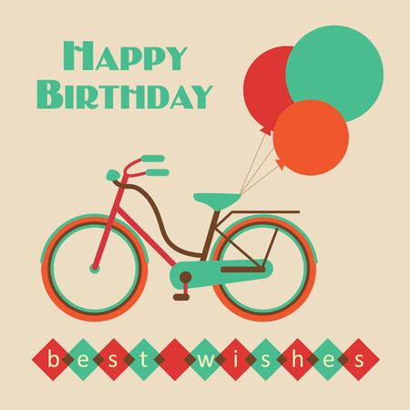 roadster: birthday card with bicycle. vector illustration