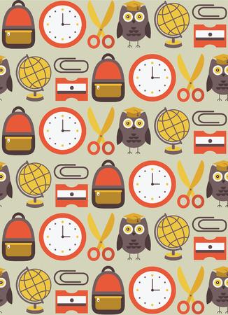 back to school seamless pattern design. vector illustration Çizim
