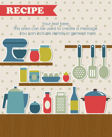 cooking time: recipe card design. vector illustration