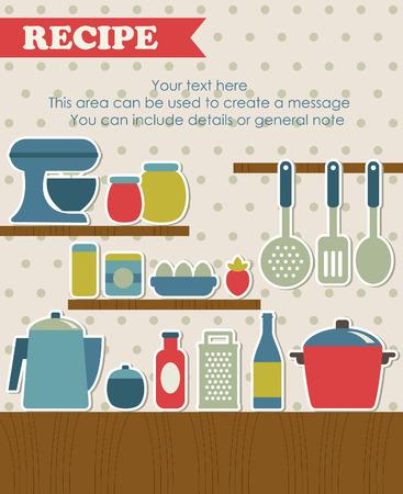 cook book: recipe card design. vector illustration