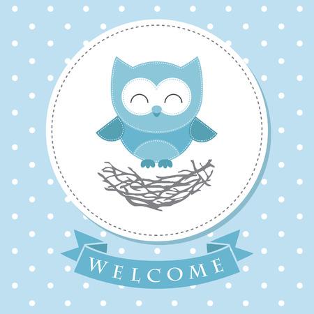 baby shower boy: welcome baby card design. vector illustration Illustration