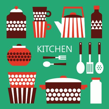 dinnerware: kitchen card design. vector illustration