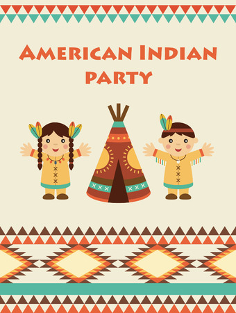 american indian party card design. vector illustration Illustration