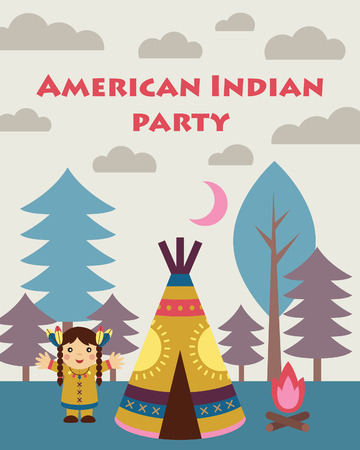 native american baby: american indian party card design. vector illustration Illustration