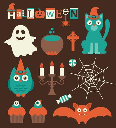 halloween set. vector illustration Vector