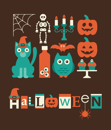 halloween objects set. vector illustration Vector