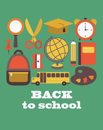 consept: back to school card design. vector illustration