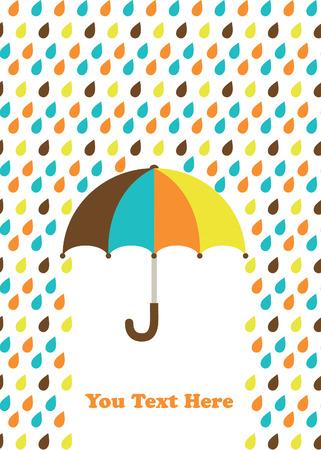 rainy season: umbrella card design. vector illustration