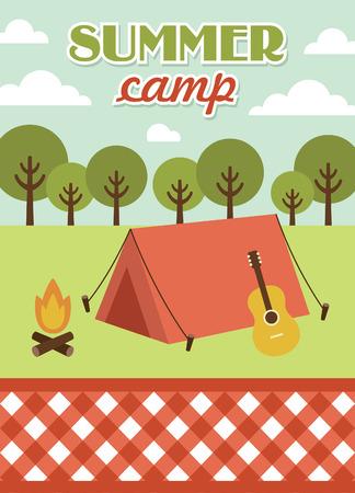 summer sky: summer camp card design. vector illustration