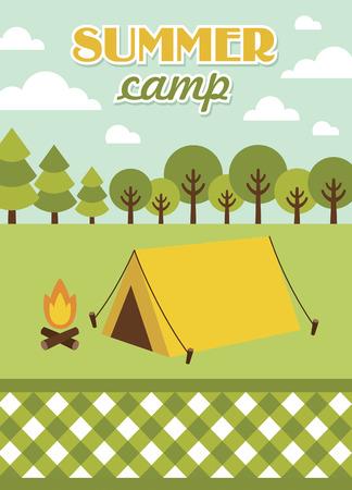 summer camp: summer camp card design. vector illustration