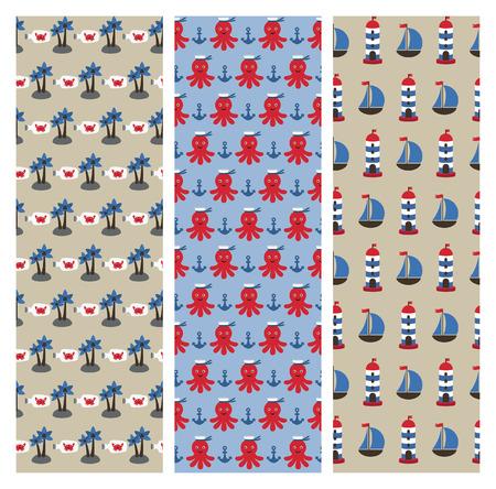 ahoy: cartoon sea patterns collection. vector illustration Illustration