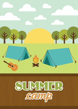 summer holiday: summer camp card design. vector illustration