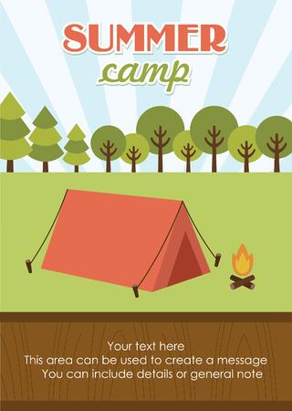 summer day: summer camp card design. vector illustration