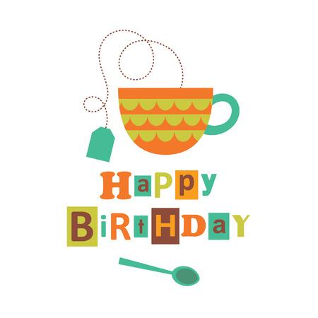 drinks party: happy birthday card design. vector illustration Illustration