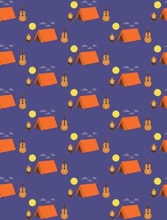 campamento de verano: Dise�o del modelo de campamento de verano sin problemas. ilustraci�n vectorial Vectores