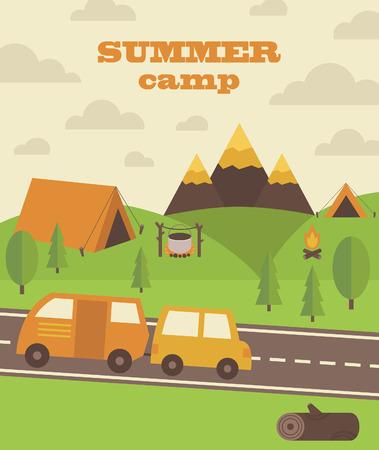 campamento de verano: dise�o de tarjetas de campamento de verano. ilustraci�n vectorial