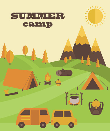 summer camp card design. vector illustration