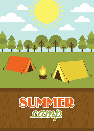 summer vacation: summer camp card design. vector illustration